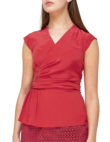 Jacques Vert Mock Wrap Blouse-DARK RED-UK 16/US 14