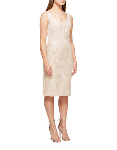 Jacques Vert Lucy Luxury Shift Dress-NEUTRAL-UK 16/US 14