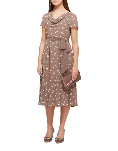 Jacques Vert Savanna Spot Fit-and-Flare Dress-BROWN-UK 16/US 14