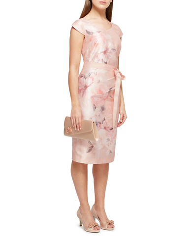 Jacques Vert Samantha Shantung Shift Dress-LIGHT PINK-UK 16/US 14