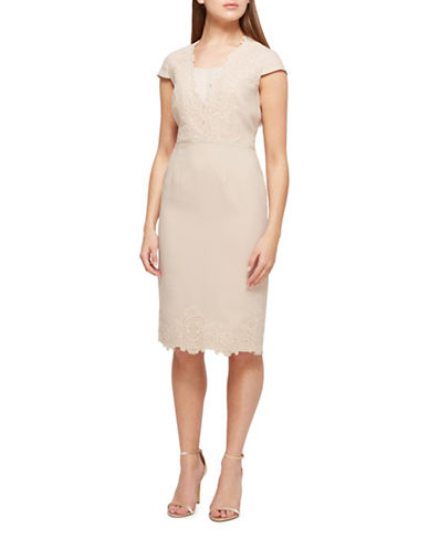 Jacques Vert Morgan Lace Shift Dress-NEUTRAL-UK 18/US 16