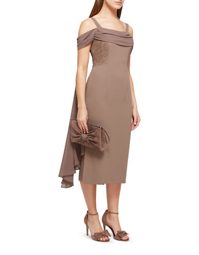 Jacques Vert Lila Drape Cold Shoulder Dress-BROWN-UK 12/US 10