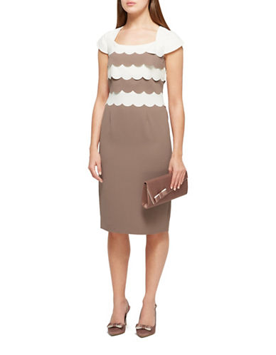 Jacques Vert Emily Shift Dress-BROWN-UK 18/US 16