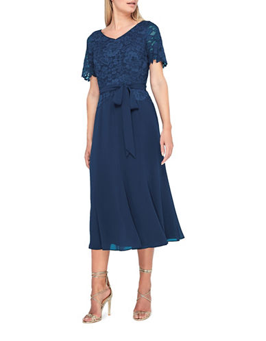 Jacques Vert Maisie Lace and Chiffon Dress-NAVY-UK 14/US 12