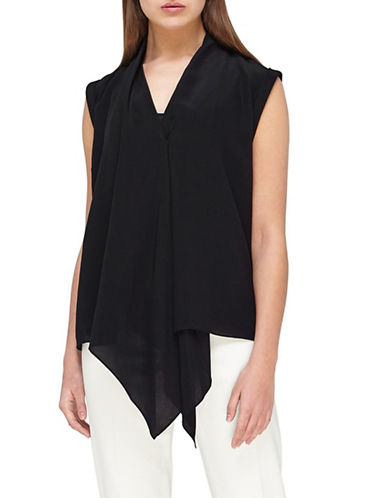 Jacques Vert Drape-Front Silk Top-BLACK-UK 14/US 12