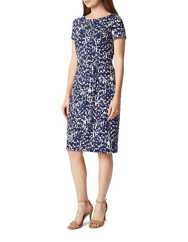 Precis Petite Rosie Geo Short-Sleeve Shift Dress-NAVY-UK 8/US 6