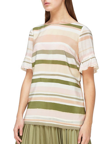 Jacques Vert Striped Frill Sleeve Silk Top-MULTI PINK-UK 14/US 12