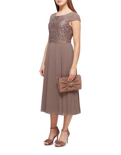 Jacques Vert Morena Lace and Chiffon Dress-BROWN-UK 10/US 8