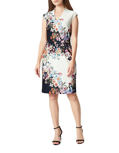 Precis Petite Trailing Floral Shift Dress-WHITE MULTI-UK 16/US 14