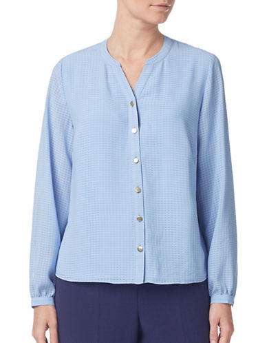Eastex Mini Checked Long-Sleeve Blouse-LIGHT BLUE-UK 16/US 14