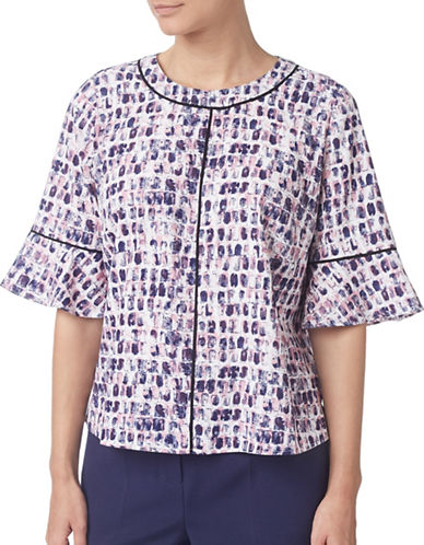 Eastex Fluted Sleeve Blouse-BLUE MULTI-UK 12/US 10