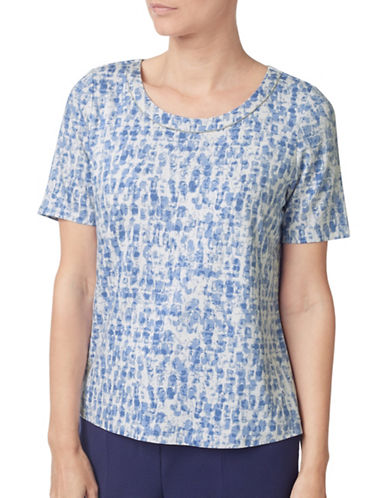 Eastex Stamp Print Jersey Top-BLUE-UK 18/US 16
