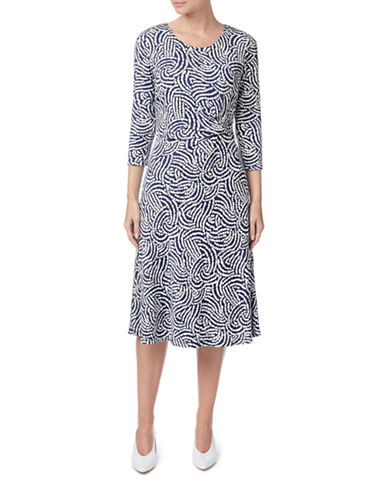 Eastex Dandelion Textured Fit-and-Flare Dress-NAVY-UK 20/US 18