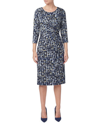 Eastex Stamp-Print Dress-NAVY-UK 18/US 16