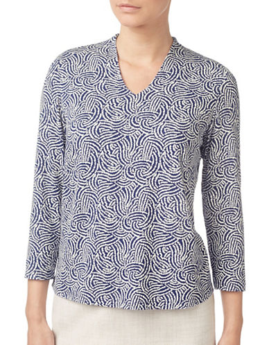 Eastex Pathway Print Top-NAVY-UK 18/US 16