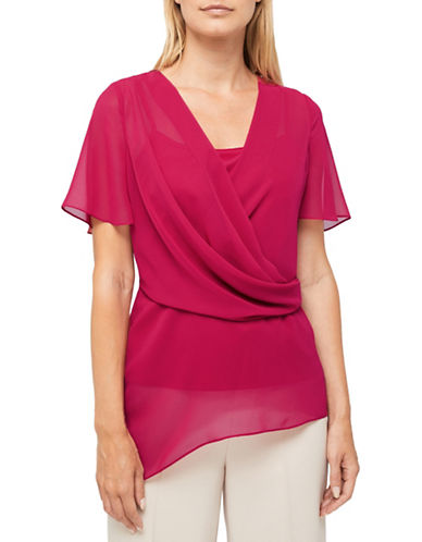 Jacques Vert Ophelia Chiffon Blouse-DARK PINK-UK 10/US 8