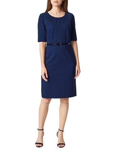 Precis Petite Petite Ponte Shift Dress-NAVY-UK 16/US 14