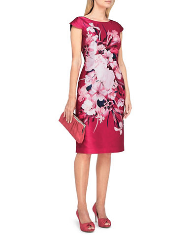 Jacques Vert Printed Shantung Shift Dress-MULTI PINK-UK 18/US 16