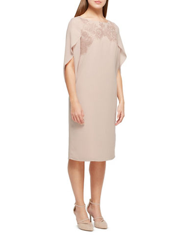 Jacques Vert Milly Lace Sheath Dress-NEUTRAL-UK 16/US 14