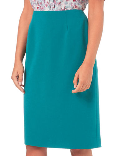 Eastex Double Cloth Pencil Skirt-GREEN-UK 20/US 18