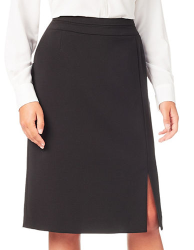 Eastex Double Cloth Pencil Skirt-BLACK-UK 10/US 8