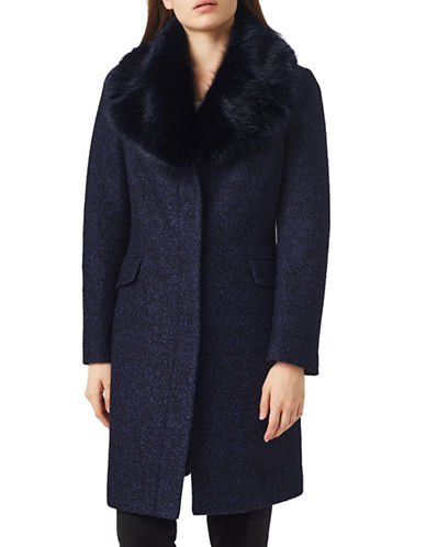 Precis Petite Wool-Blend Faux Fur Coat-NAVY-UK 10/US 8