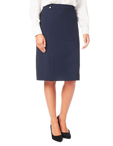 Eastex Crepe Pencil Skirt-NAVY-UK 18/US 16