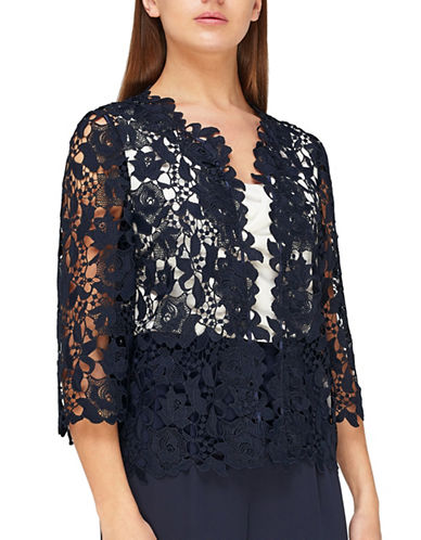 Jacques Vert Lace Cropped Shacket-NAVY-UK 12/US 10
