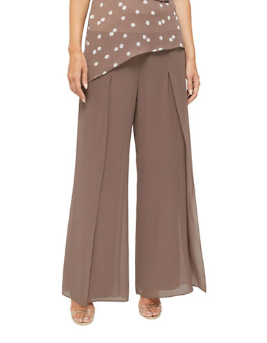 Jacques Vert Niova Wide-Leg Chiffon Trousers-NEUTRAL-UK 12/US 10