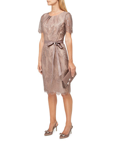Jacques Vert Maria Lace Shift Dress-BROWN-UK 10/US 8