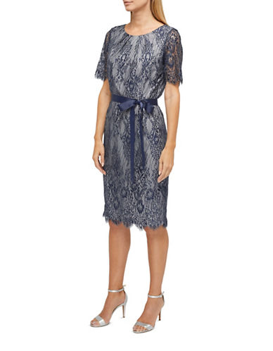 Jacques Vert Maria Lace Shift Dress-MULTI NAVY-UK 8/US 6