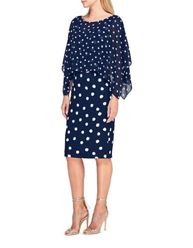Jacques Vert Camilla Spot Shift Dress-MULTI NAVY-UK 24/US 22