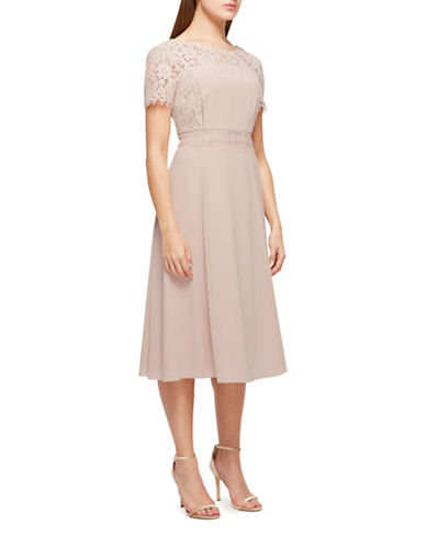 Jacques Vert Lola Lace Fit-and-Flare Dress-NEUTRAL-UK 18/US 16