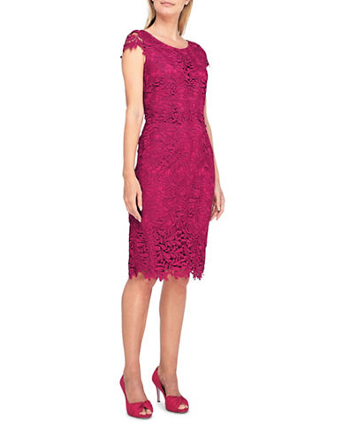 Jacques Vert Lainey Lace Shift Dress-DARK PINK-UK 16/US 14