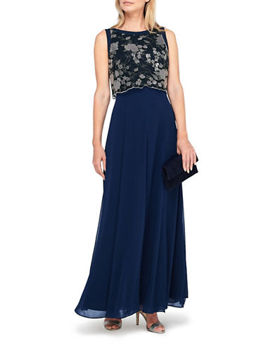 Jacques Vert Lace Bodice Maxi Dress-NAVY-UK 12/US 10