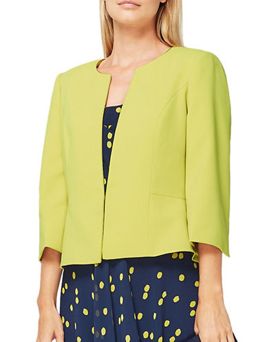 Jacques Vert Erica Crepe Jacket-YELLOW-UK 12/US 10