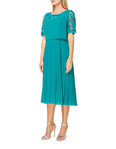 Jacques Vert Esme Lace and Plisse Dress-GREEN-UK 20/US 18