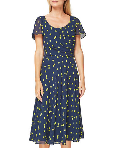 Jacques Vert Vivienne Dotted Dress-NAVY MULTI-UK 10/US 8