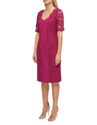 Jacques Vert Portia Lace Sheath Dress-PINK-UK 20/US 18