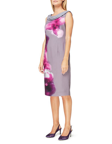 Jacques Vert Paloma Printed Sheath Dress-MULTI-UK 12/US 10