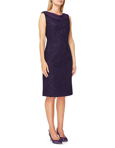 Jacques Vert Paloma Lace Sheath Dress-PURPLE-UK 14/US 12