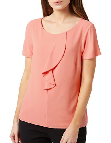 Precis Petite Ruffle Front Top-CORAL-UK 6/US 4
