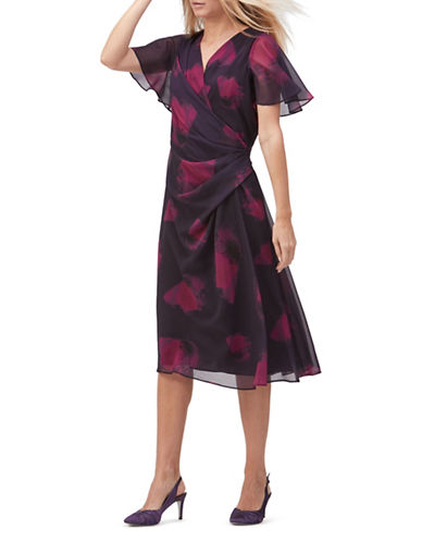 Jacques Vert Amanda Poppy-Print Dress-PURPLE MULTI-UK 22/US 20