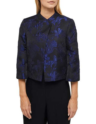 Jacques Vert Embossed Accent Cropped Jacket-BLACK MULTI-UK 8/US 6