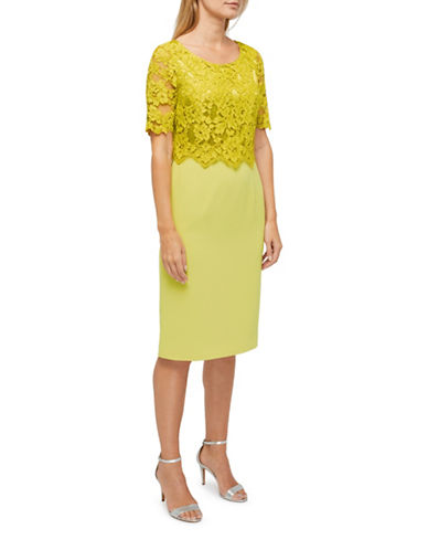 Jacques Vert Evie Lace Dress-YELLOW-UK 8/US 6