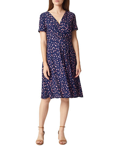 Precis Petite Petal Short-Sleeve Wrap Dress-NAVY-UK 18/US 16