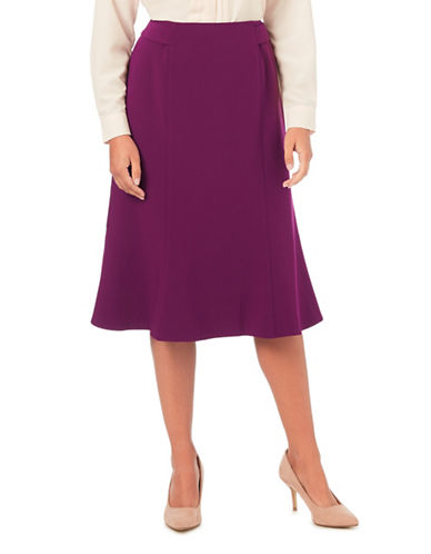 Eastex Merlot Fit-and-Flare Skirt-PURPLE-UK 12/US 10
