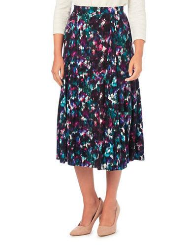 Eastex Grain Leaf Jersey Skirt-PURPLE MULTI-UK 14/US 12