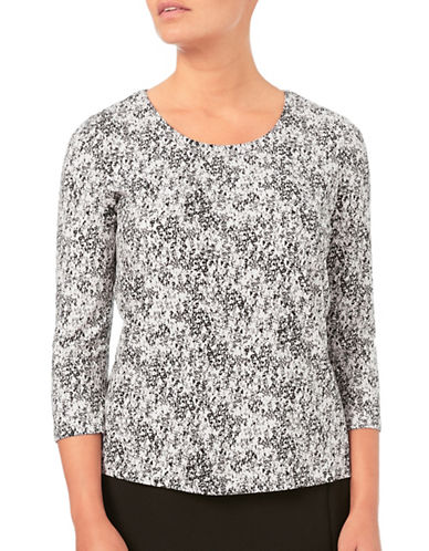 Eastex Harvest Printed V-Neck Top-CREAM-UK 14/US 12