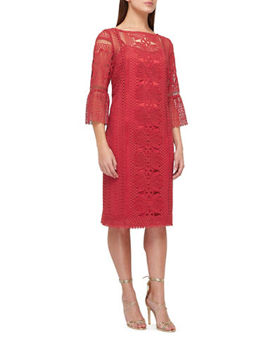 Jacques Vert Lace Tunic Dress-DARK RED-UK 14/US 12